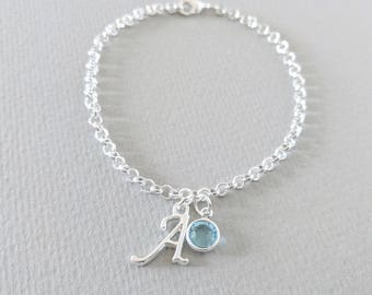 March Birthstone Jewellery, Aquamarine Birthstone, Initial Bracelet, Initial Necklace, March Birthday Gift, Sterling Silver
