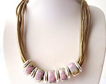 Pastel necklace, Collar necklace, Bib necklace, silk cord necklace, Ceramic necklace, lilac purple necklace, Beach necklace, textile jewelry