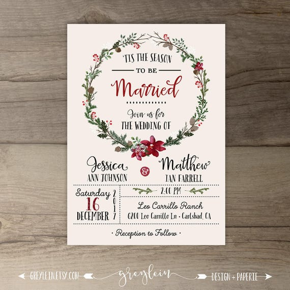 winter wedding invitations wreath  u0026 39 tis the season to