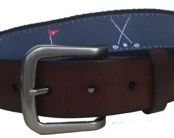 Golf Leather Belt / Leather Belt / Canvas Belt / Preppy Webbing Belt for Men, Women and Children/ 18th and 9th Hole and Repeating Golf Club