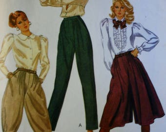 McCalls 7761, Gaucho Pants Sewing Pattern,  Knickers, Culottes,  1980s , Size 10
