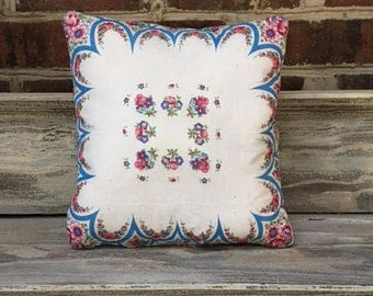 Vintage Hankie Pillow with Quilt Backing