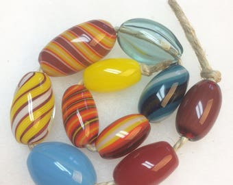 Handblown Glass Color Beads - Wholesale - Variety 10 pack