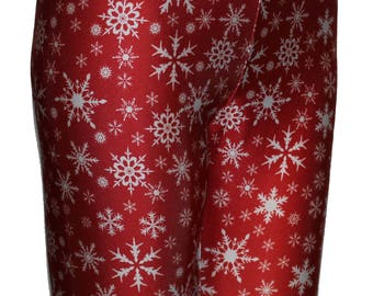 Red Snowflake Leggings, Winter Leggings, Christmas Leggings, Printed Leggings, Yoga Pants, Running Pants