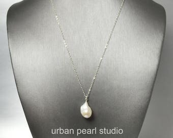 Baroque Pearl Necklace, Pearl Bridesmaids Gift Under 30 Dollars, Large Pearl Drop, Unique Pearl Necklace BPN11