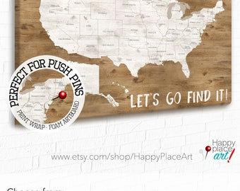Travel Map Etsy - Us map with state names and cities