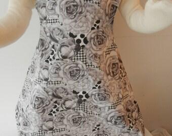 Pink dress apron reversible black blue diamonds