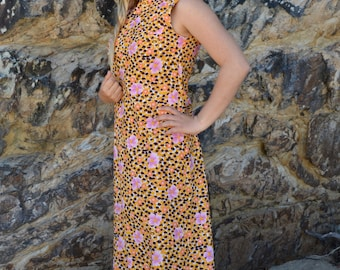 Vintage 70's pencil dress maxi floral retro print orange, brown, purple on white hippie 1960's 70's original