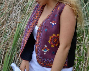 Wool folk vest embroidered Indian waist coat shisha mirrors purple black hippie ethnic vintage gypsy hand stitched