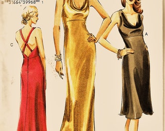 Vogue Pattern V8113 Gorgeous Sexy Strap Back Gown or Cocktail Dress PLUS Sz 18-22 Uncut FF Formal Evening Gown Sewing Patterns Supply