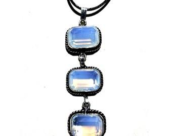 Opalite Necklace + Free Shipping Worldwide ~ crystal necklace, crystal jewelry, Opalite pendant, crystal pendant, opalite jewelry
