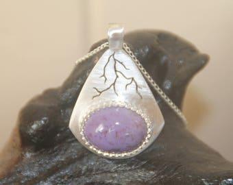 Handmade Turkish Lavender Jade, sterling silver, lightning pendant