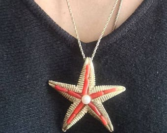 Vintage Costume Necklace Corral and Pearl Starfish Pendent