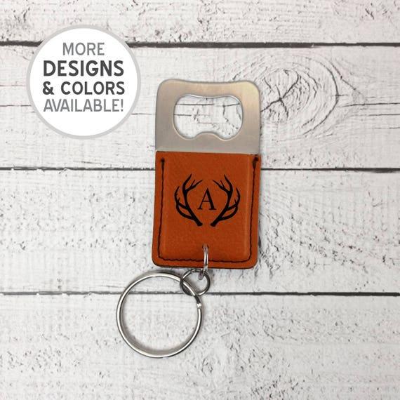 engraved antler initial bottle opener keychain personalized. Black Bedroom Furniture Sets. Home Design Ideas