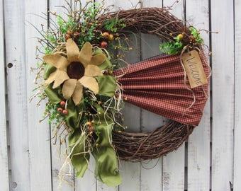 Summer Wreath - Sunflower Wreath - Autumn Wreath - Grapevine Wreath - Fall Primitive Wreath - Country Wreath  - Outdoor Fall Wreath -Decor