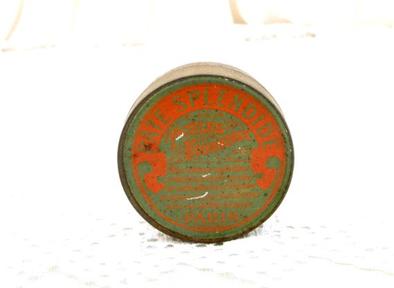 "Antique French Metal Tin with Belle Epoque Graphics in Orange and Green Range Paste ""Pate Splendide"" from Paris, Polish Box from France"