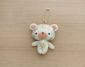 London of liberty Bear Initial Mint charm Felt Keychain -  cute accessories -  Letter Initial Charm - Spring Bear plush - READY TO SHIP
