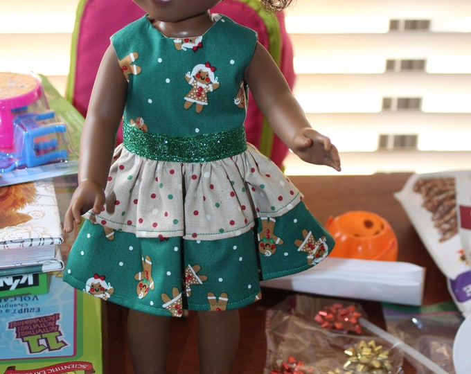 Green Christmas Ginger Bread Dress Green Ribbon, Sandals made to fit the likes of Wellie Wisher and other 14.5 inch dolls, FREE SHIPPING