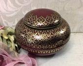 Vintage Maroon and Gold Tin Box, c 1980, Exotic Round UFO Shape, Dark Red, Ornate Scrolls, Decorative Unusual Trinket Keepsake Box