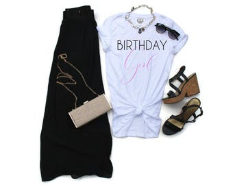 Birthday Girl Tee T Shirt. Birthday Shirt. Birthday Gift for Her Women. Minimalist Graphic Tee T Shirt. Cute T Shirt Women. Birthday Shirt