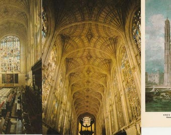 King's College Chapel, Cambridge England, Three Vintage Postcards