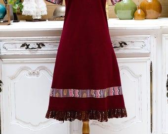 Vintage 1960/70's Handmade Burgundy Dress