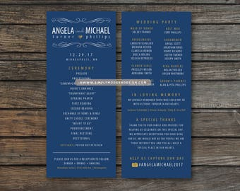 wedding program, wedding programs, simple, modern, double sided, ceremony, order of events, wedding invitation, PRINTABLE or PRINTED