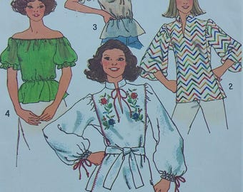 Vintage Simplicity 7530 Sewing Pattern Pullover Peasant Top Size 6 with Transfer for Embroidery