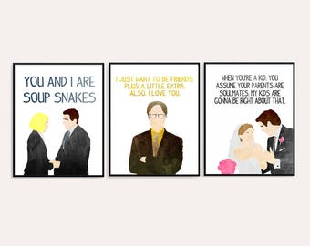 The Office Love Quotes - Pam and Jim - Michael and Holly - Dwight and Angela - Watercolor Digital 8x10 Prints