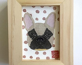 French Bulldog Art, Fawn Frenchie Gift, ACEO Original, Framed or Unframed