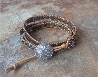 Chan Luu Inspired Tila Triple Wrap Leather Bracelet