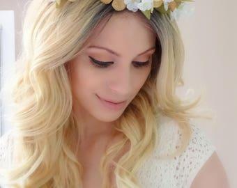 Rustic Headpiece, Flower Crown, Hair Wreath, Woodland Crown