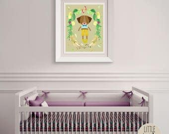 Donnie Dog – a printable dog wall art poster with a beautiful flowered wreath.  Perfect for a hipster, woodland nursery.