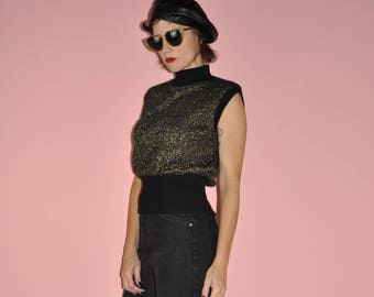 Vintage 70s 80s Gold Black Disco Sleeveless Vest Holiday Mock Turtle Neck Sweater S/M