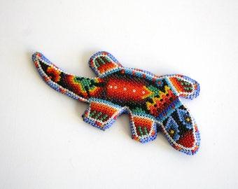 Huichol Beaded Lizard Sculpture