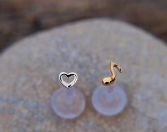 16 Gauge Earring - Piercing Tragus Earring - Heart Tragus Stud - Music Tragus Earring - Bioflex Tragus - 16 Gauge for Tragus - Bioflex 16g