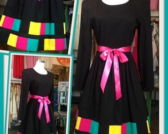 SALE Vintage Black Pink Green Yellow Color Block Cotton Dress