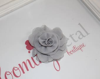 Gray Chiffon Rose Flower Clip
