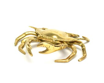 LARGE! Vintage Brass Crab Trinket Box  - Mid Century Nautical - Gold Beach House - Sea Life Ash Tray - Nautical Gift  - Hollywood Regency