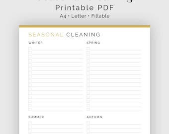 Seasonal Cleaning Checklist - Fillable - Printable PDF - Household Binder, Cleaning Kit - Instant Download