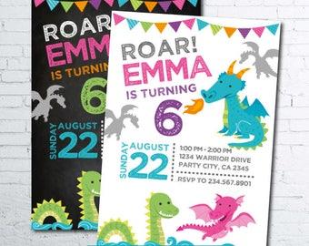 Dragon Invitation, Dragon Girl Invitation, Dragon Birthday Party, Knight Invitation, Medieval Birthday Party, 2 options, DIGITAL