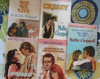 Woman's Weekly Library, abridged editions, of 5 Mollie Chappell romance novels, good reading quality