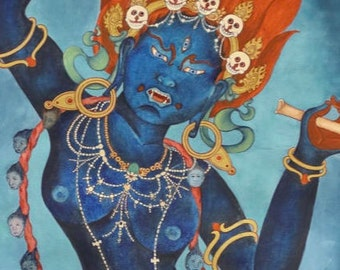 B: Goddess Troma Nagmo Kali, CROP from full Chod thangka, Hindu Deity, Tibetan Buddhist, Thangka, mantra, incense, sutra, Queen of space