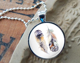 Feather Pendant, Boho Glass Necklace, Bohemian Necklace, Watercolor Feather Glass Pendant, Bohemian Feather Necklace, Red Feather Necklace