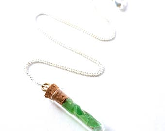 "Green Sea Glass in a Corked Mini-Glass Bottle on a 925 Sterling Silver Diamond Cut bead Chain, Your choice 16""-24"""