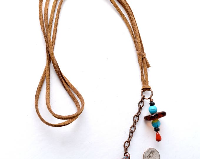 "Red, Turquoise and Brown Bonfire Sea Glass and Matching Beads on Copper and a Beige Vegan Suede Cord, Adjustable Sliding Knot Clasp 22""-34"""
