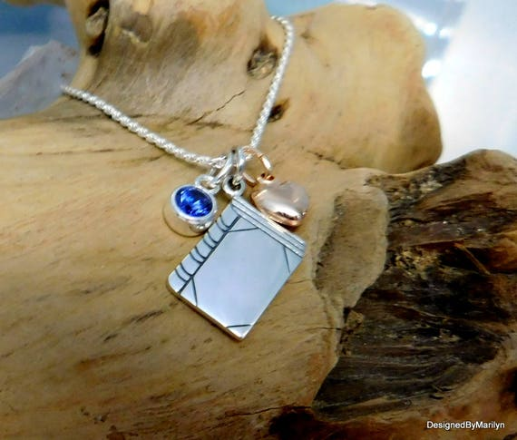 Sterling silver bookworm necklace, birthstone necklace, personalized jewelry, For the love of reading,