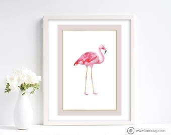Flamingo Art Print Tropical Art Print Instant Download Wall Art Print Pink Print Printable Artwork Pink Watercolor Flamingo Art Print