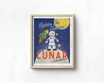 Retro Nursery Space Poster PRINTABLE - Vintage Inspired Travel Poster - Moon - Astronaut - Digital Art Print - Baby Shower Gift - SKU#4476