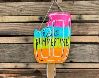 Finished Popsicle Door Hanger, Wall Decor, Summertime